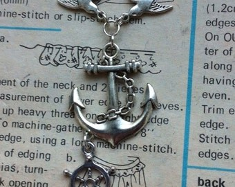 Anchor and Swallow Necklace