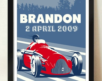 Personalized Name DOB Digital Download Vintage Grand Prix Racer Car Grand Prix Personalized Poster Art Print Boys Room - 8x10 or 11x14.