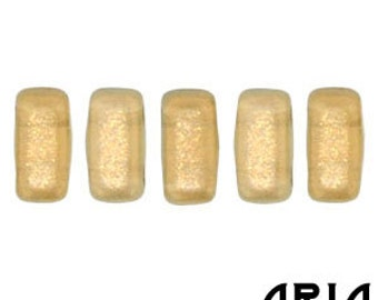 HALO LINEN: Two-Hole Czech Glass Brick Beads, 3x6mm (50 beads per strand)