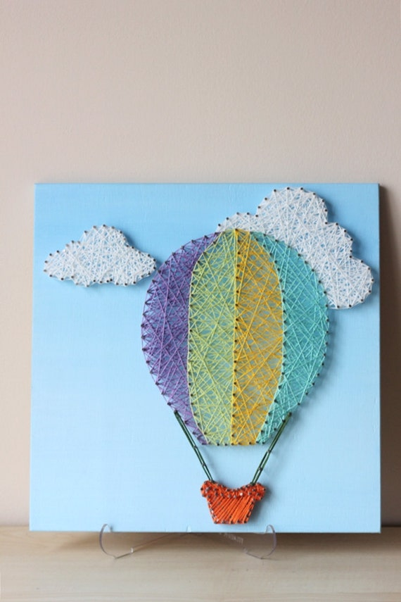 Baby shower hot air balloon nursery string art hot by for Balloon string decorations