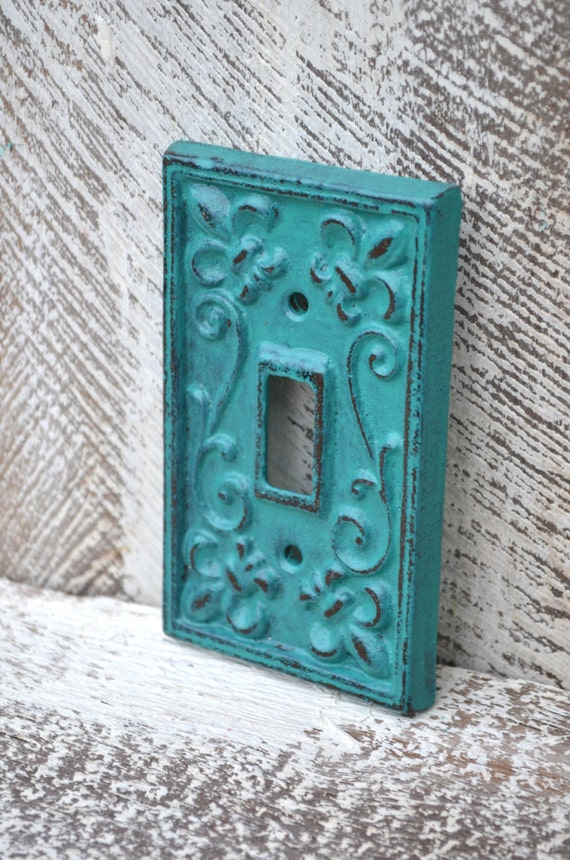 Light Switch Cover Teal Switch Plate Cover Fleur De Lis