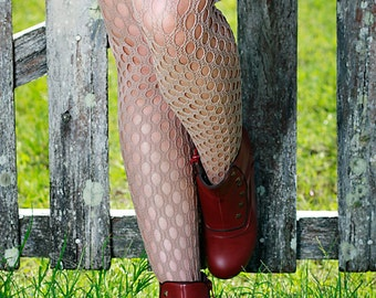Black Beige Hand Dyed Crochet Nylon Stockings Tights Size 10-12