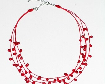 Coral Multi Strand Necklace on Wax Cord, Red Stone Necklace
