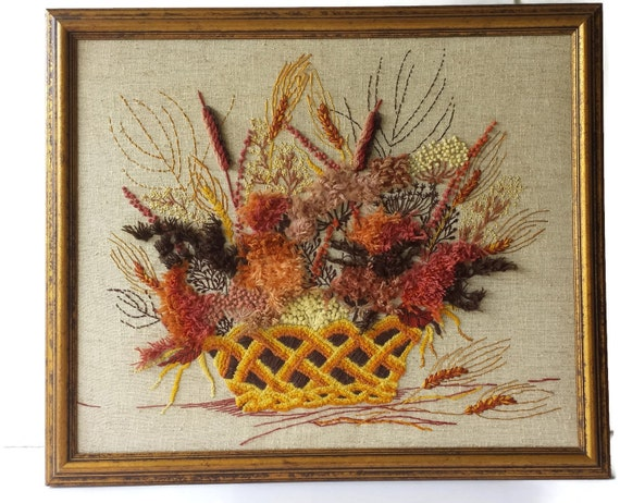 Erica Wilson Finished Crewel Harvest Basket Autumn Framed