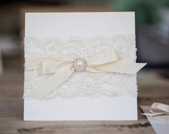 Ivory Lace Wedding Invitation