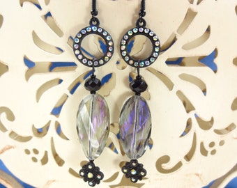 Earrings Chandelier with Black and Iridescence Aqua Purple and Fuchsia