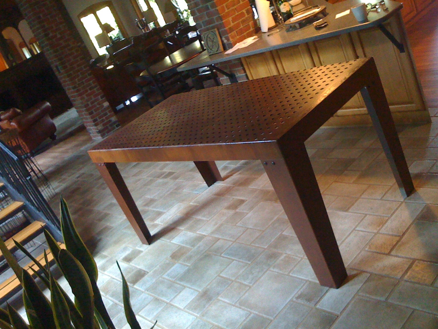 Vintage industrial table industrial dining table farmhouse for Tejas dining room at t conference center