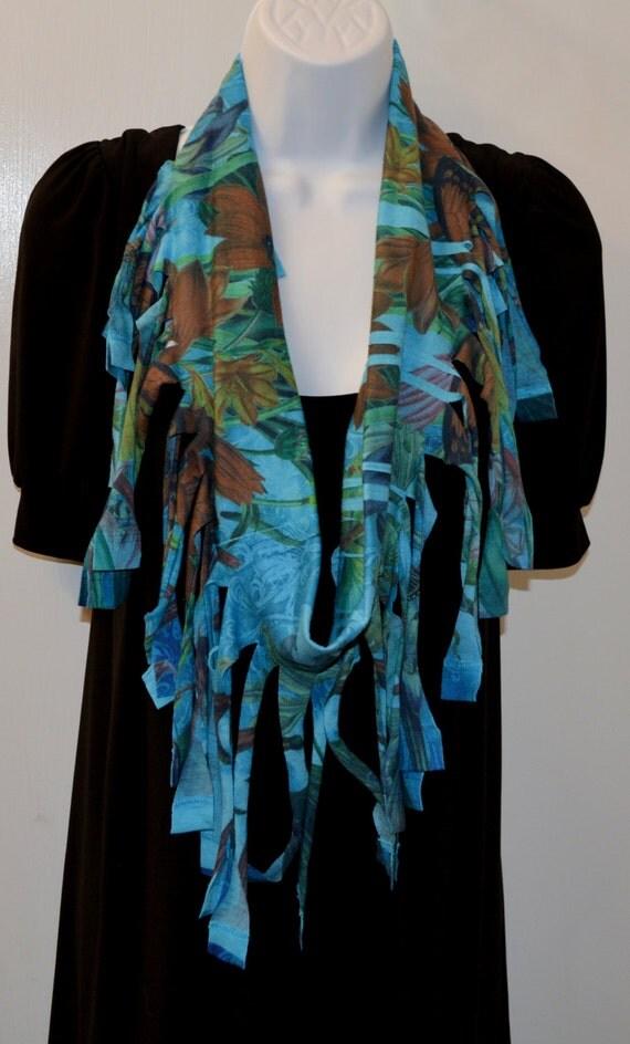 infinity fringe t shirt scarf blue patterns gorgeous