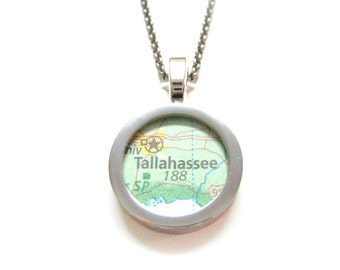 Tallahassee Florida Map Pendant Necklace
