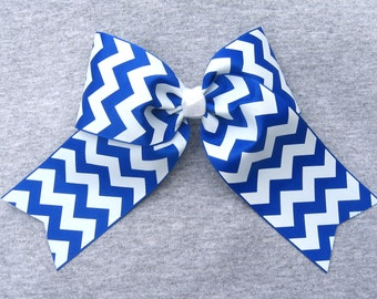Big Cheer Bow - Large Royal Blue and White Hair Bow in a  Zig Zag Chevron Stripe Pattern