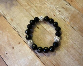 Black and Crystal Swarovski Stretch Bracelet