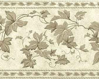 WAVERLY Ivy Trellis Cream Vines VINTAGE Wallpaper Border 570670 Branches, Taupe, Leaves, Dots, Muted, Subtle