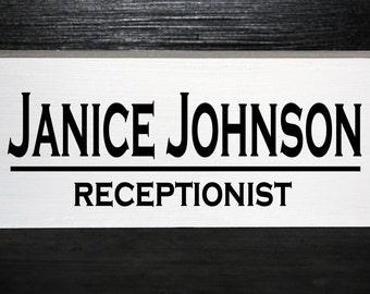 Personalized wooden block desk nameplate- Teacher, business, employee gift