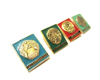 Set of 4 Soviet vintage badges Rare pins Pin Series USSR Federation pins Metal pins Rare badges Made in USSR era 1970's Russian