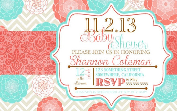 coral and turquoise baby shower invitations