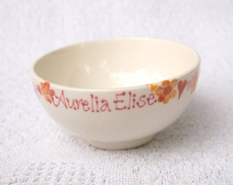 personalised flowers and heart bunting bowl