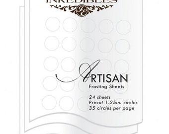 Inkedibles Artisan Frosting Sheets 24 sheets: Precut 1.25 inch circles (35 circles per sheet)
