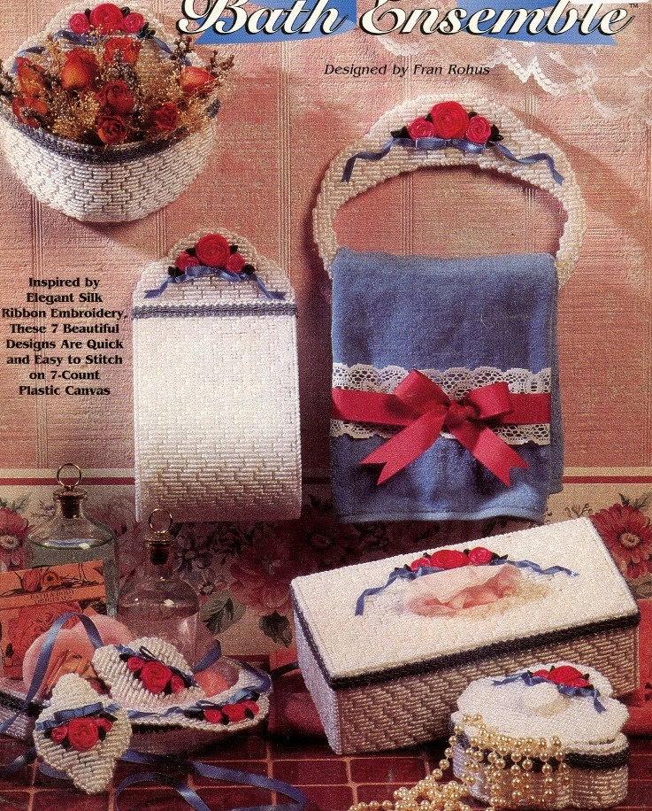 Plastic Canvas Book Cover Patterns : Plastic canvas bath set pattern book designs tissue cover