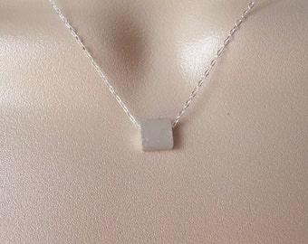 Silver Square Cube Necklace - Silver Cube Necklace - Sterling Silver Necklace - Tiny Necklace - Christmas Gift