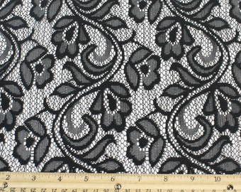 Black Botanical Lace Fabric by the yard or Wholesale Organic Flower Design - Leinnah Pattern - 1 Yard Style 331
