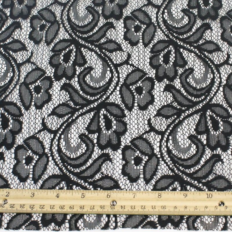 Black botanical lace fabric by the yard or wholesale organic for Cheap fabric by the yard