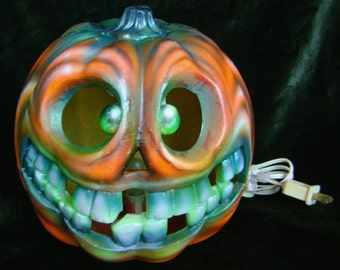 Pumpkin Crazy Eyes Painted Guord-Electric 10 inches Tall