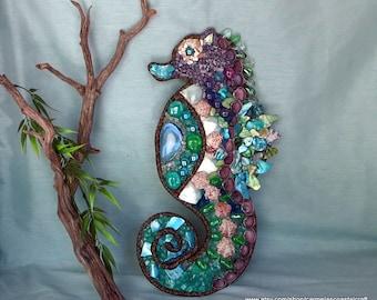 Sea Horse wall decor_mixed media_sea shell sea horse_beach decor_nautical_sea shell art_sea horse art collage