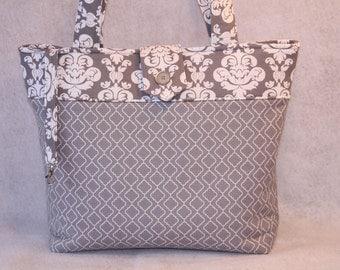 Gray and White Tote Bag