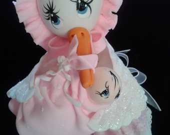 Pink and white Baby shower stork decoration center piece