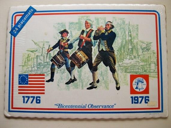"""24 Bicentennial paper placemats still in wraps. """"Bicentennial Observance"""""""