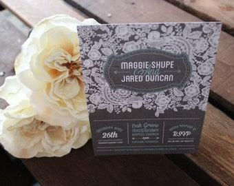 Burlap and Lace Wedding invite