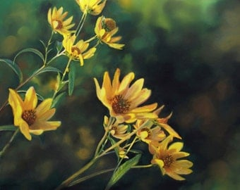 flower print from original pastel painting, yellow flowers giclee print home decor fine art print nature beauty