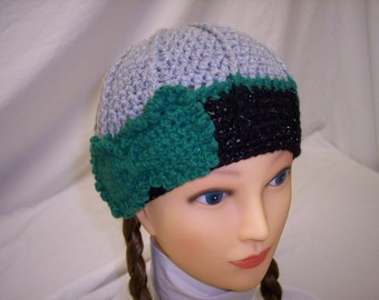 Womans Sparkle Crocheted Beanie in Grey and Black