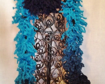 Teal and Navy Varigated Fashion Scarf