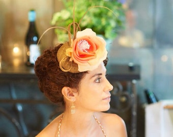 Metallic Golden / Bronze Sinamay Pillbox Fascinator with Flower and Quills Detail- Coctail, Wedding, Racing Events