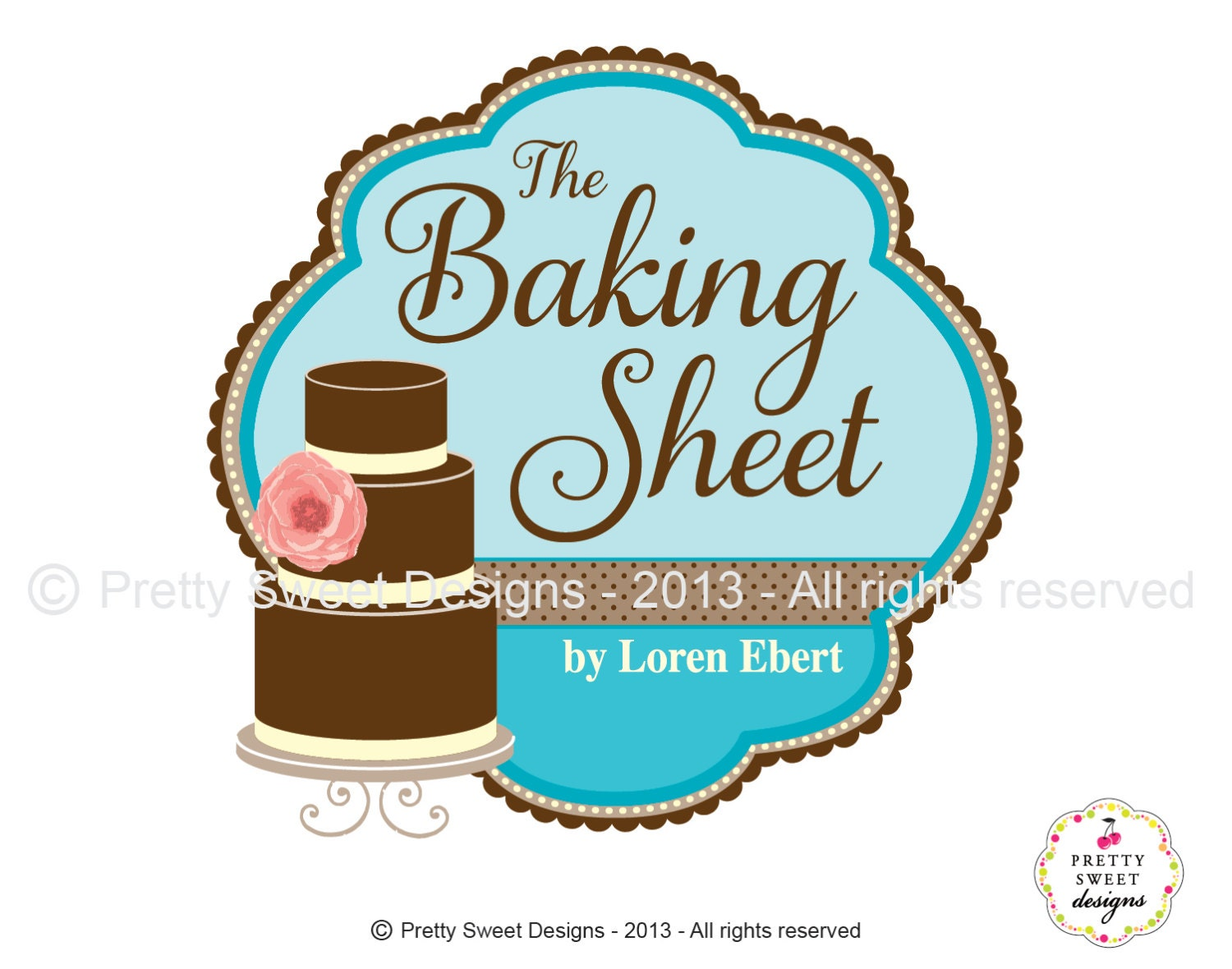 Cake Logo Design For Bakery Or Wedding by MyPrettySweetDesigns