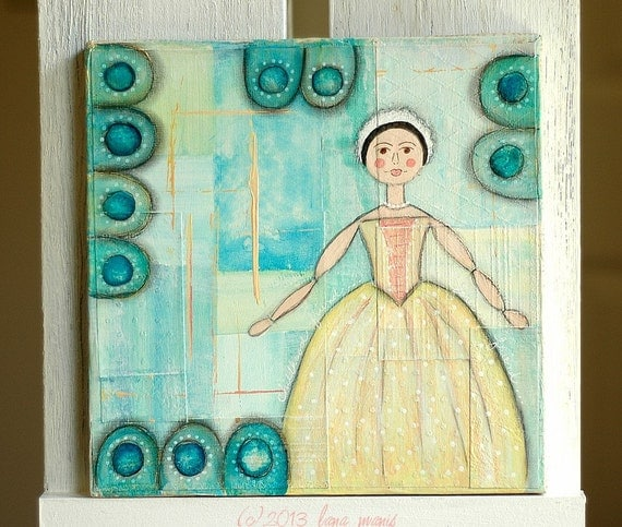 Original Mixed Media Art - Queen Anne Doll, Polka Dots, Circles, Yellow, Salmon, Pink, Aqua, Teal, Lime Green, Penny Rug Design