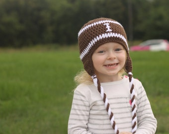 Football hat - toddler hat - child hat - any size - earflap - winter hat - fall hat - photography prop