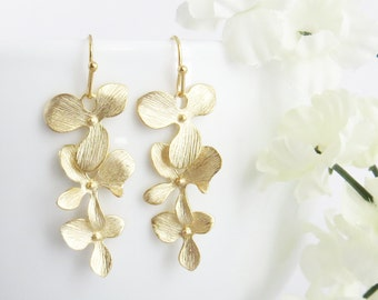 Orchid Earrings, Flower Earrings, Orchid Jewelry, Wedding Earrings, Bridesmaid Gift, Long Earrings, Mothers Day Gift, Bridesmaid Earrings
