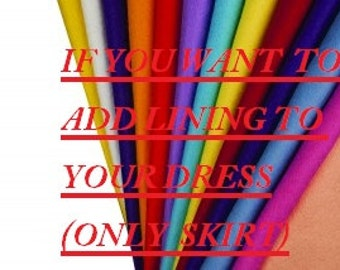 FREE SHIPPING ADD Lining To Your Dress(only for Skirt)