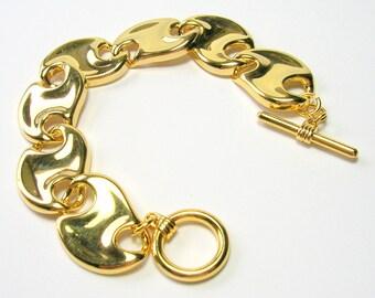 Vintage Gold Tone Link Bracelet - Gold Tone Chunky Links - 1980s - Vintage Bracelets