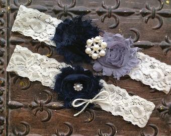 Navy Wedding Garter, Wedding Garter, Navy Gray Wedding Garter, Ivory Lace Wedding Garter, Something Blue Wedding Garter, Burlap Garter
