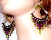 Black, purple and green beaded chandelier earrings, beaded chainmail earrings, large earrings, lightweight, byzantine, great gift for her