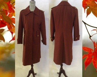Vintage Women's Coat Full Length Double Knit Polyester Trench  Coat #9