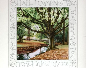 "Hornbeam Tree watercolour print | Personalised gift | Shakespeare sonnet | Wedding Anniversary gift | Handwritten Calligraphy | 9.5"" x 9.5""."