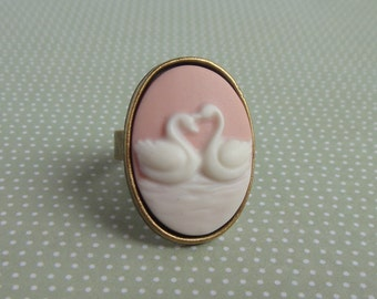 Oval Ring Swan Vintage Cabochon Cameo Adjustable Ring Bronze Antique Brass