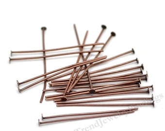 50 Long Headpins - Antique Copper Headpins - 21 gauge thick - Red Copper Findings - Jewelry Making Supply lot - 40mm / 4.00cm long- HP12