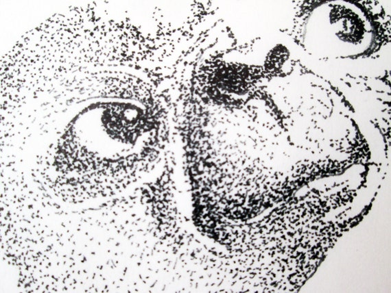 E.T. Pen And Ink Dot Original Drawing Dotism Pointilism