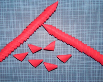 320 red 3d origami triangles / pieces