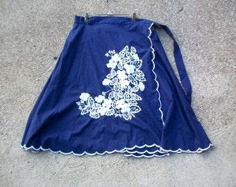Vintage Skirt, Vintage Wrap Skirt, Wrap Skirt, Navy Wrap Skirt, Blue Wrap Skirt, Floral Wrap Skirt, Embroidered Skirt Midi Skirt, Blue Skirt